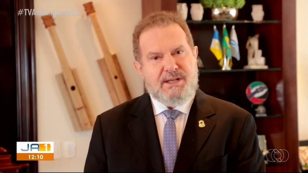 Governador Mauro Carlesse em vídeo divulgado pelo governo — Foto: Reprodução
