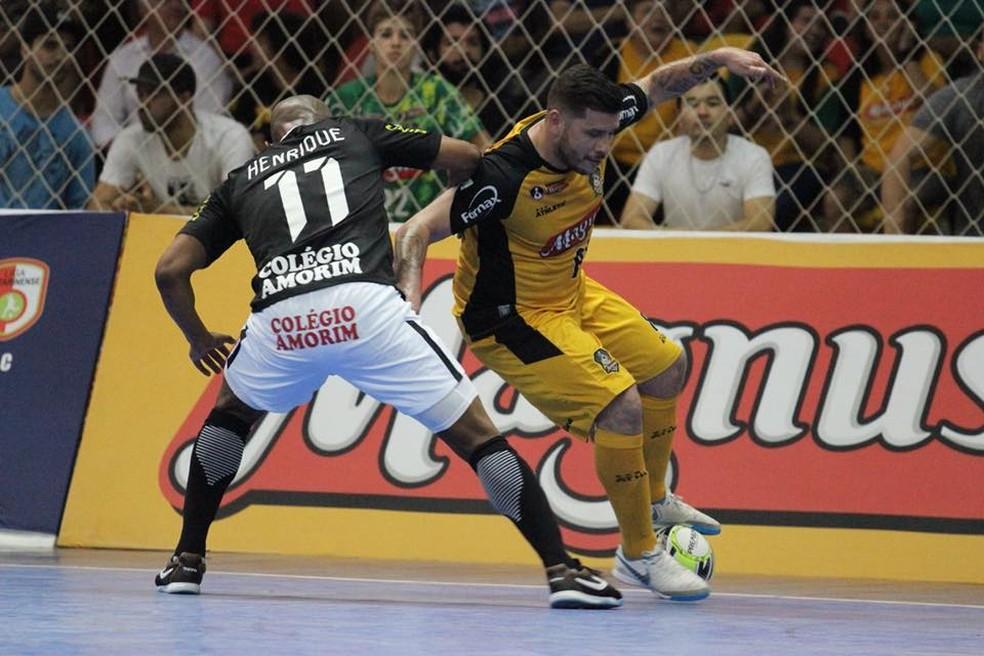 Sorocaba e Corinthians fizeram grande jogo na primeira decisão da Liga Paulista — Foto: Guilherme Mansueto/Magnus Futsal