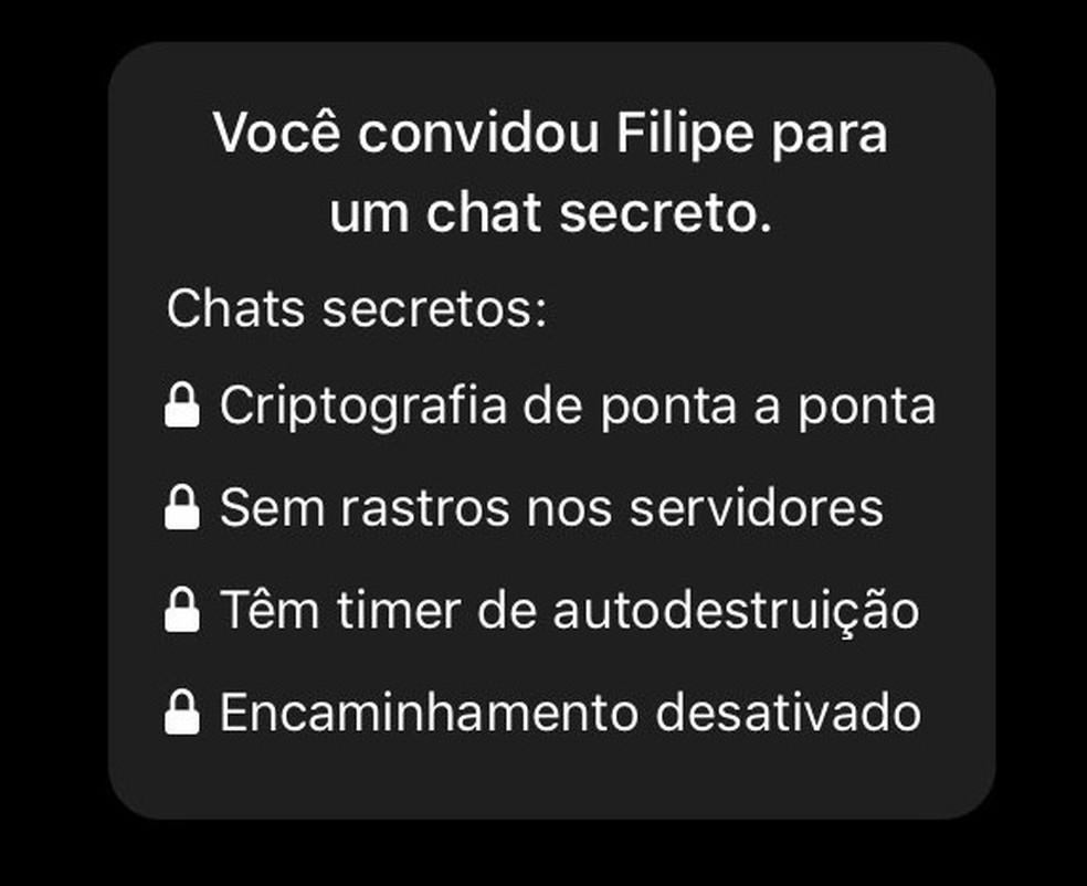 Convite de usuário do Telegram para chat secreto — Foto: Reprodução/G1