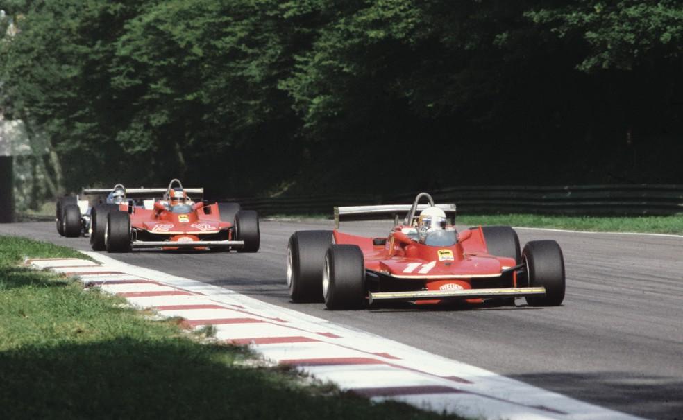 Scheckter e Villeneuve durante o GP da Itália de 1979 — Foto: Reprodução