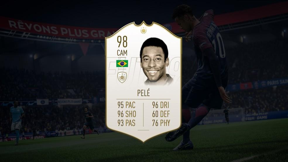 Pelé é o melhor jogador de FIFA 19 — Foto: Reprodução/Murilo Molina