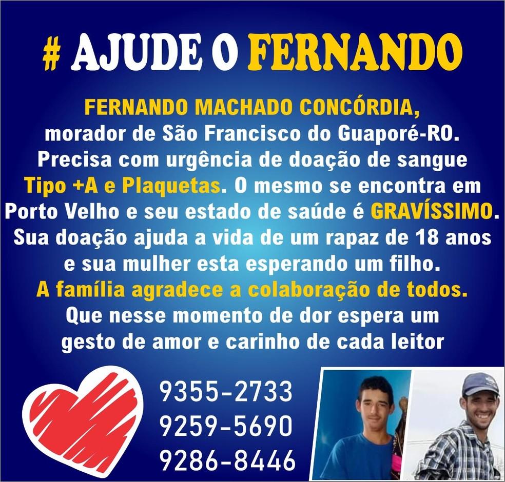Família faz campanha para doar sangue a Fernando Machado em Porto Velho.  — Foto: Arquivo pessoal