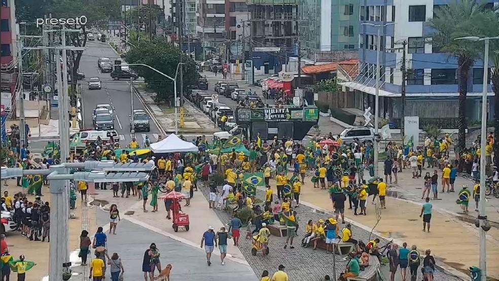 Ato a favor de Bolsonaro e que pede volta do voto impresso acontece no Largo de Tambaú, neste domingo (1º) — Foto: Reprodução/Semob-JP