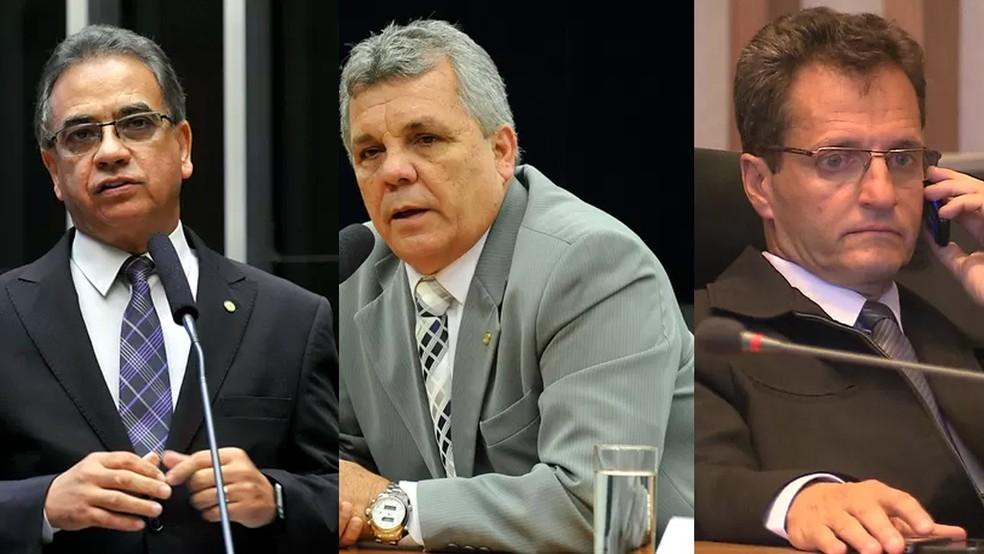 Ronaldo Fonseca (esq.) e Alberto Fraga (centro) não divulgaram o voto; Roney Nemer (dir.) não vai participar da sessão  (Foto: Reprodução)