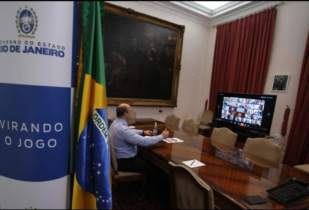Witzel participa de fórum de governadores sobre coronavírus — Foto: Reprodução/Twitter
