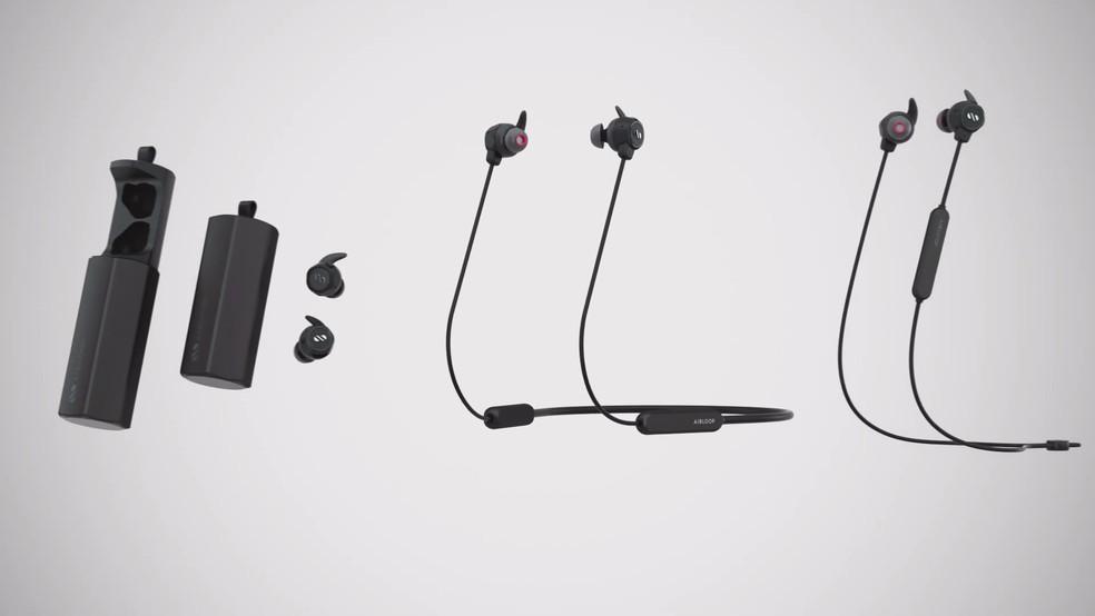 Fone pode funcionar no modo completamente wireless, ou então com neckband e sportsband — Foto: Divulgação/AirLoop