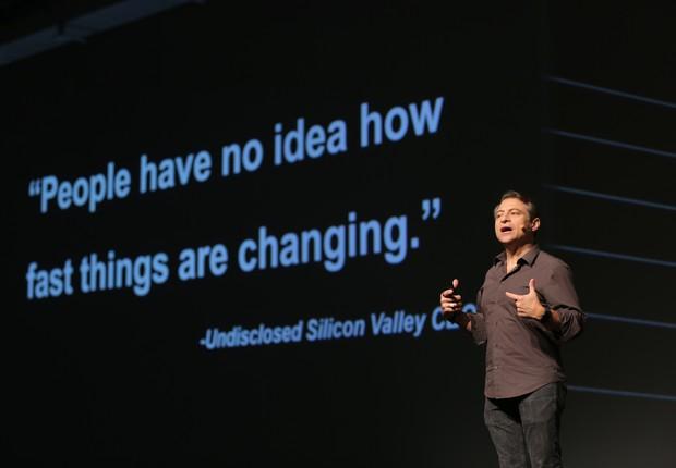 O fundador da Singularity University, Peter Diamandis, durante palestra no HSM Expo 2018 (Foto: Divulgação)