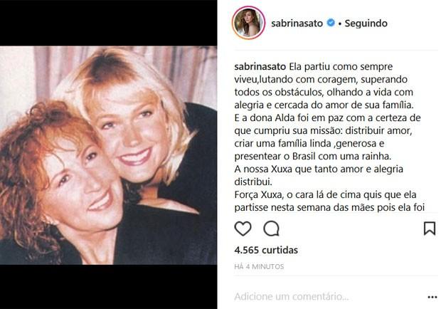 Sabrina Sato posta homenagem para mãe de Xuxa (Foto: Reprodução)