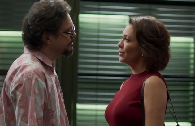 Na terça-feira (26), Mario afirmará para Nana que está namorando com Silvana (Ingrid Guimarães) e que eles não podem ficar juntos (Foto: TV Globo)
