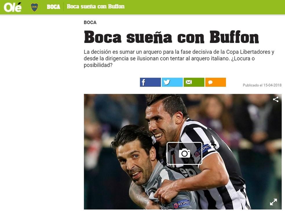 """Matéria do Olé: """"Boca sonha com Buffon"""" (Foto: Reprodução)"""