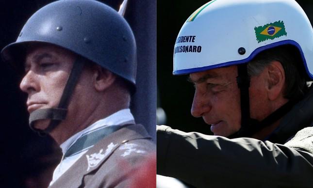 O general Newton Cruz (à esq.) e Jair Bolsonaro (à dir.)