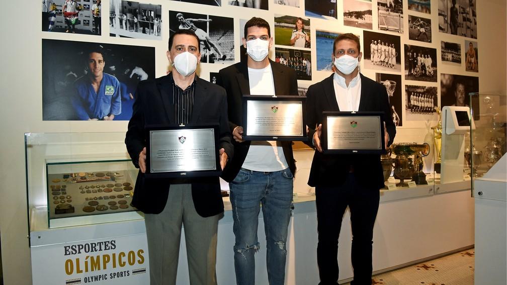 Marco Azizi, Nino e Marcos Seixas, campeões olímpicos do Fluminense — Foto: Mailson Santana / Fluminense FC