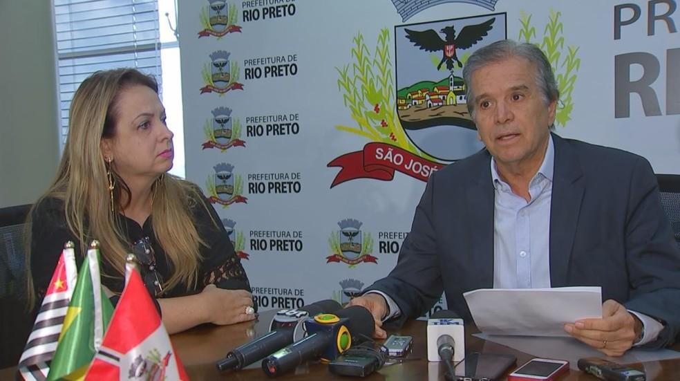 Vânia Pelegrini deixou a presidência da Emurb em uma coletiva de imprensa realizada em São José do Rio Preto (SP), nesta sexta-feira (5) (Foto: Reprodução/TV TEM)