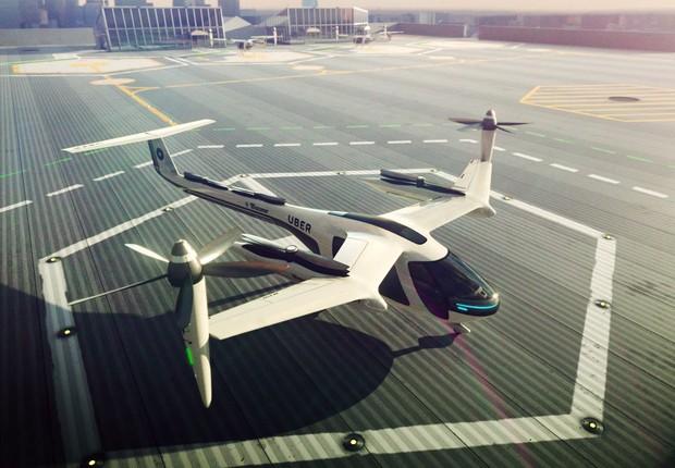 O projeto de carro voador da Uber : Elevate TA conta com tecnologia também da Embraer (Foto: Reprodução/YouTube)