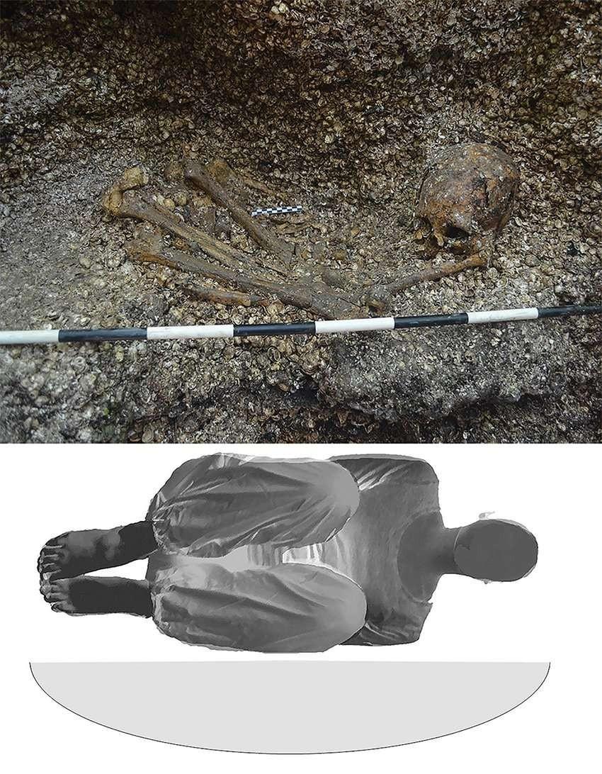 Ilustração simula a posição em que mulher foi enterrada (Foto: Divulgação)