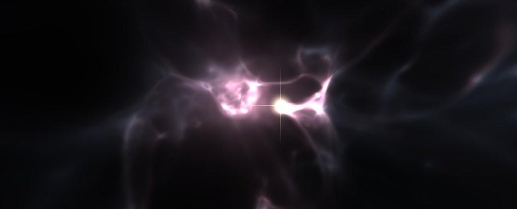 Representação de como eram as primeiras estrelas do universo (Foto: Wise, Abel, Kaehler (KIPAC/SLAC))