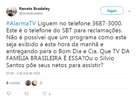 Internauta comenta mudança de horário do programa 'Alarma TV' (Foto: Reprodução / Twitter)