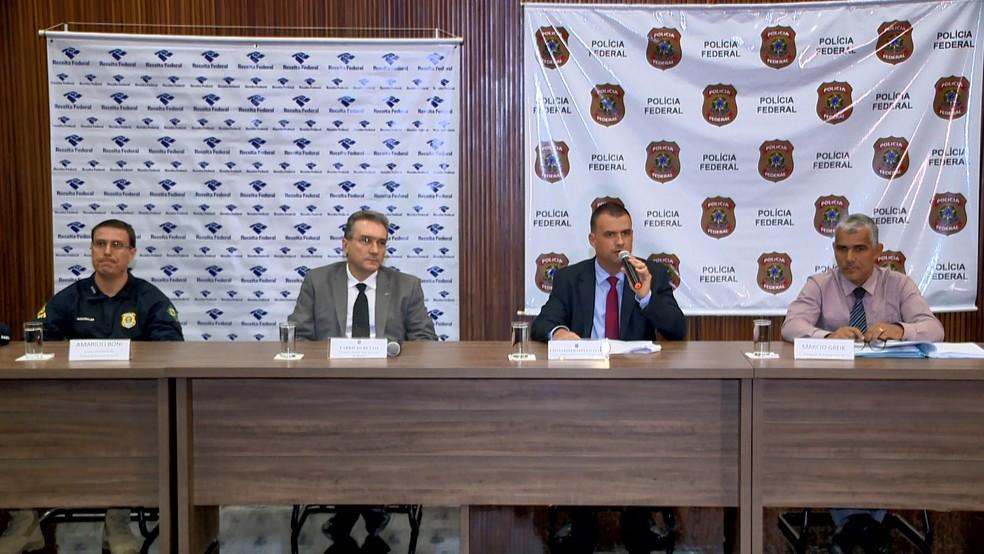 Polícia Federal apresenta resultado de operação no Espírito Santo — Foto: Ari Melo/ TV Gazeta