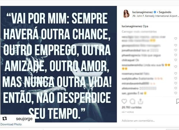 Luciana posta mensagem (Foto: Reprodução)