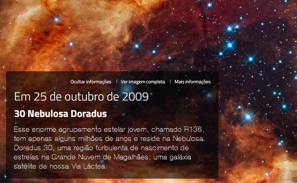 NASA mostra cartão com informações do astro retratado na foto do seu aniversário — Foto: Reprodução/NASA