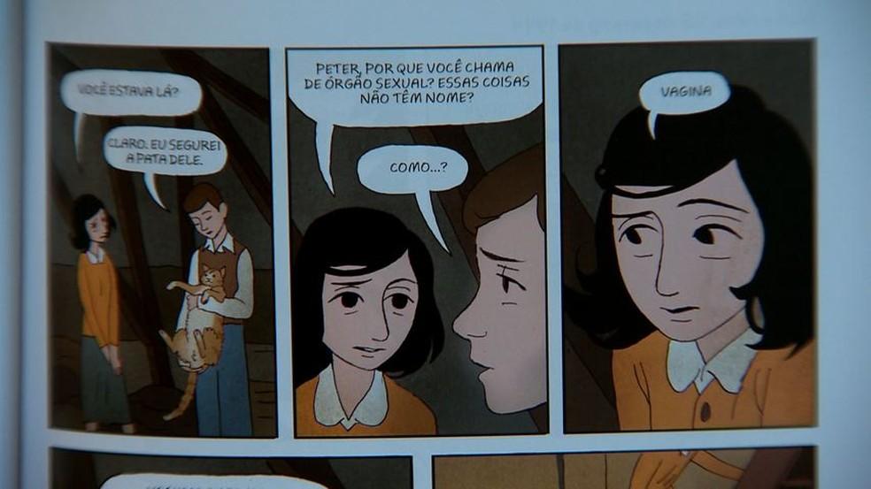 Trecho da história em quadrinhos baseada no Diário de Anne Frank (Foto: Reprodução/TV Gazeta)