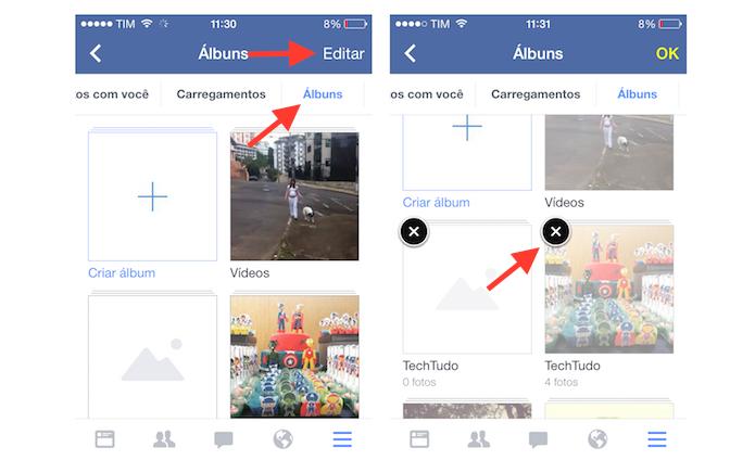 Iniciando a exclusão de um álbum de fotos do Facebook pelo aplicativo para iPhone (Foto: Reprodução/Marvin Costa)