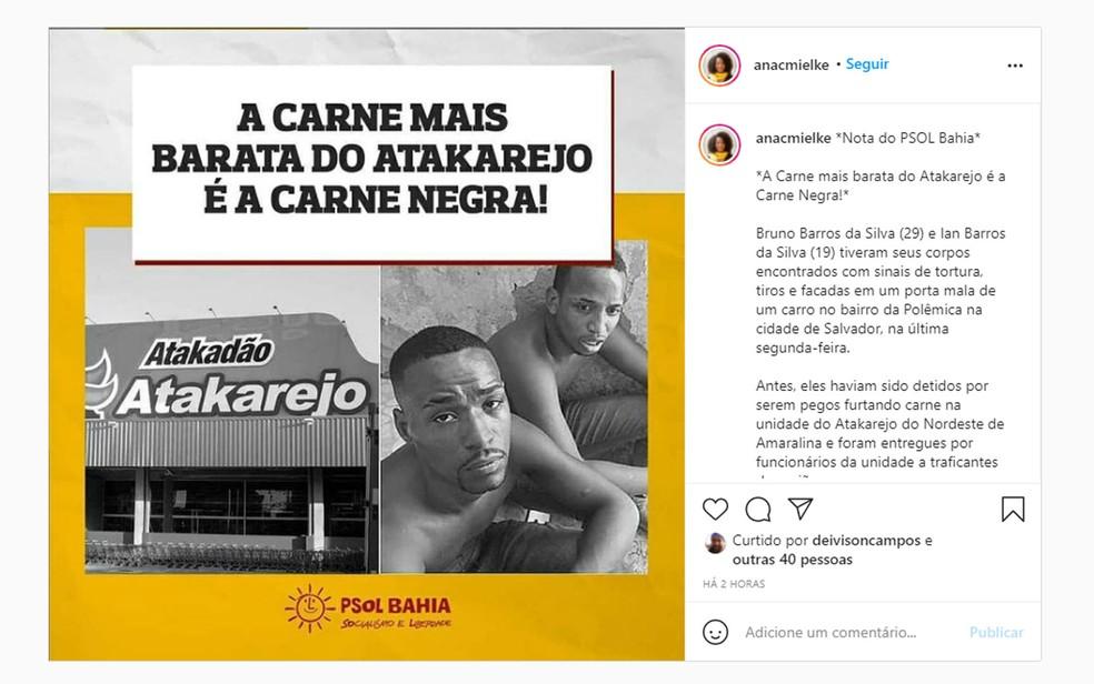PSOL Bahia postou nota cobrando investigação e punição sobre o crime — Foto: Reprodução/Instagram