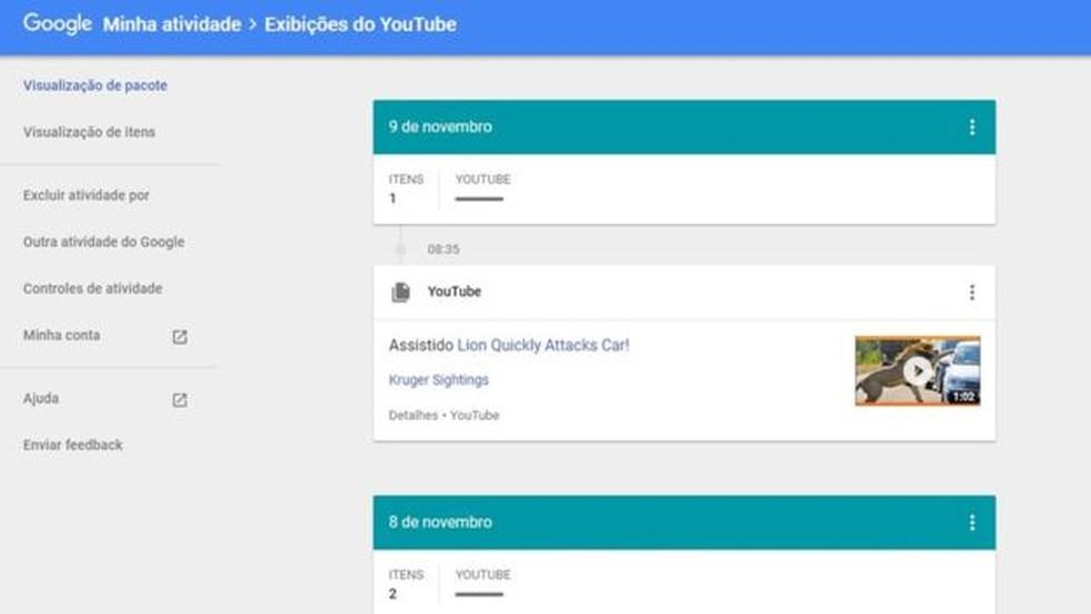 Google permite que você veja e exclua suas informações de busca no YouTube — Foto: Reprodução