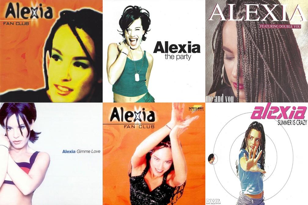 Capas de álbuns e singles dos anos 90 lançados por Alexia — Foto: Divulgação