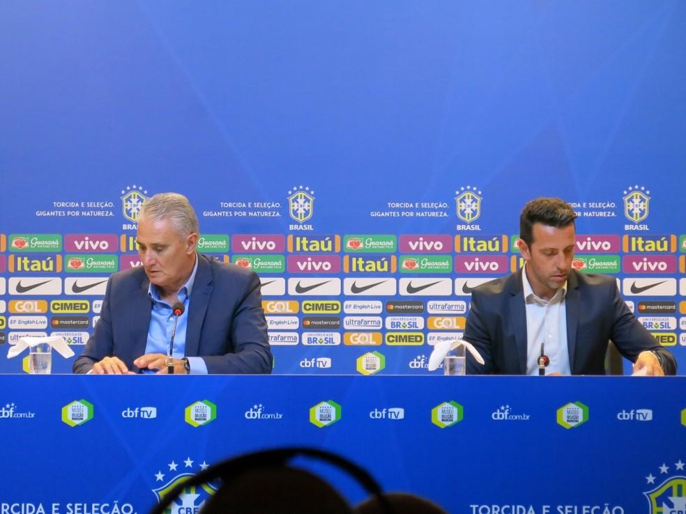 Tite e Edu na convocação da seleção brasileira  (Foto: Edgard Maciel de Sá)