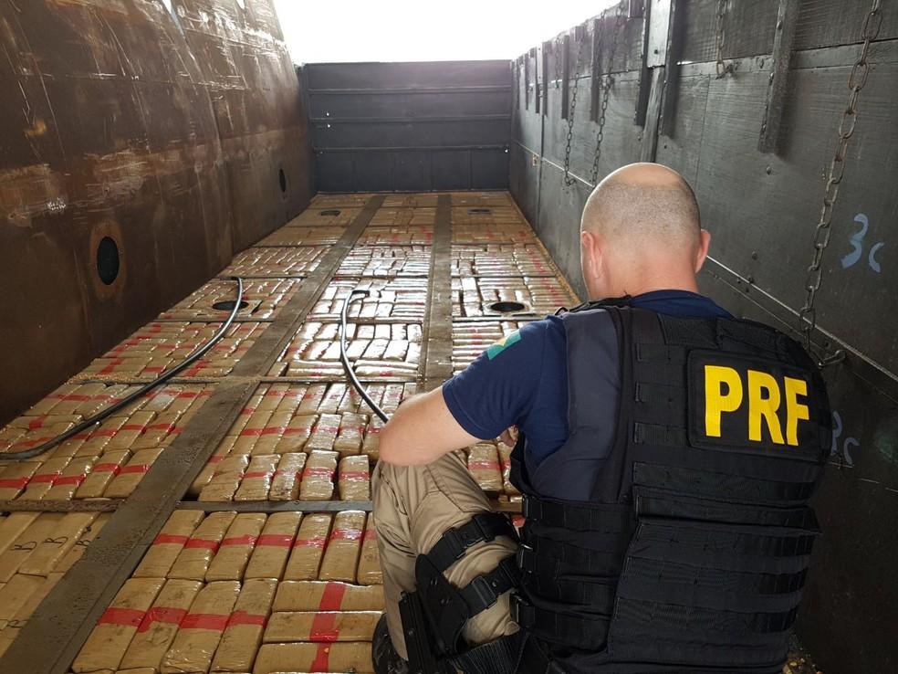 Aos agentes, o motorista disse que carregou a droga no Paraguai e a venderia no litoral de Santa Catarina (Foto: PRF/Divulgação)