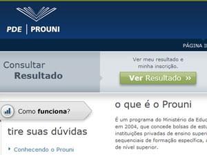 Acesso ao resultado está na página inicial do site do Prouni (Foto: Reprodução)