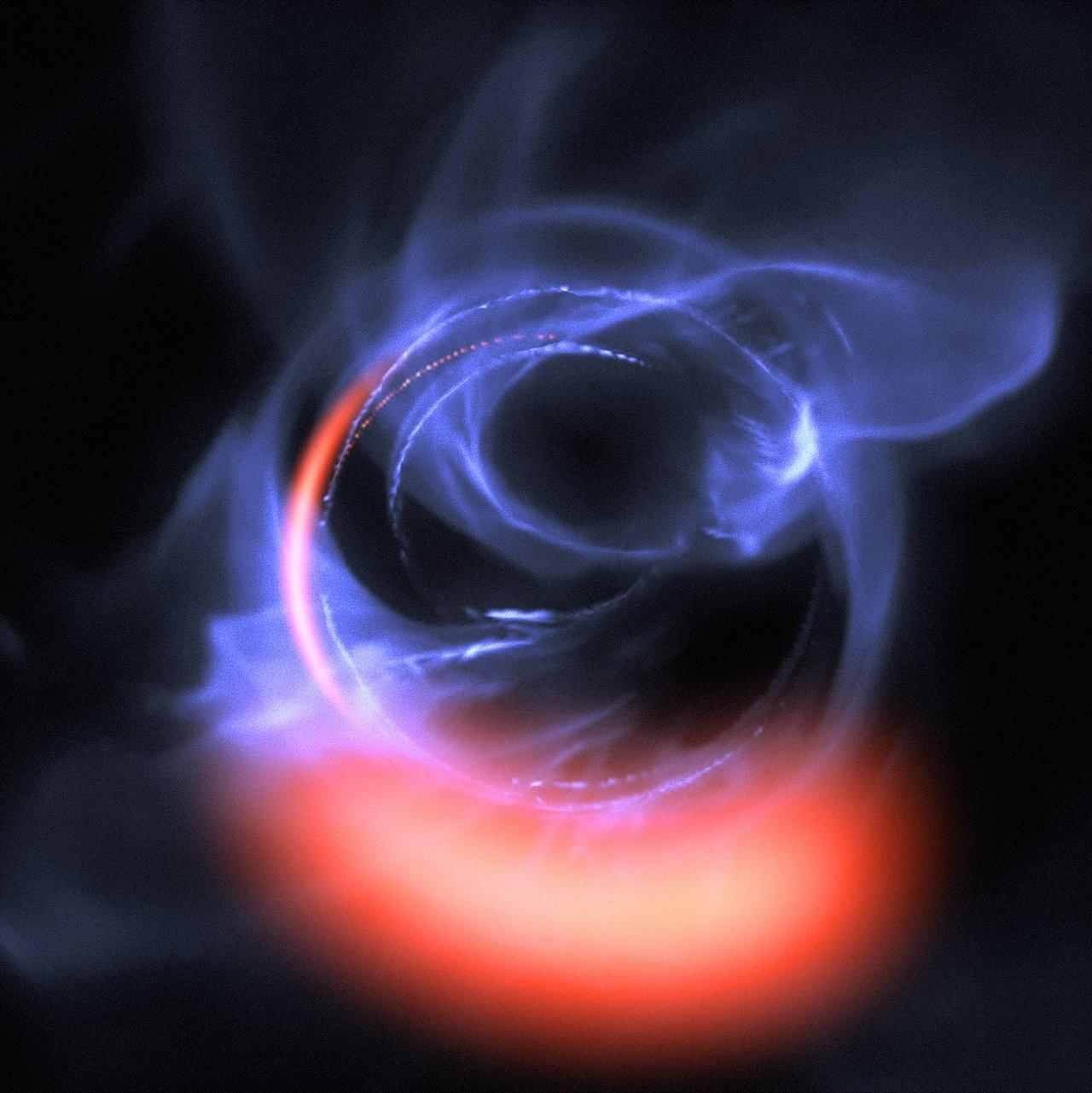 Simulação mostra material em torno do buraco negro (Foto: ESO)