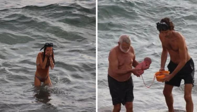 Momento em que o bebê é retirado da mãe (Foto: Reprodução CEN/Facebook)