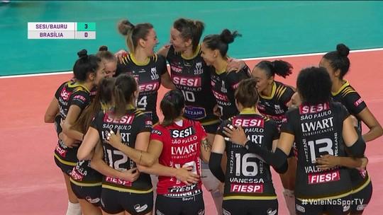 Melhores momentos: Sesi-Bauru 3 x 0 Brasília pela Superliga feminina de vôlei