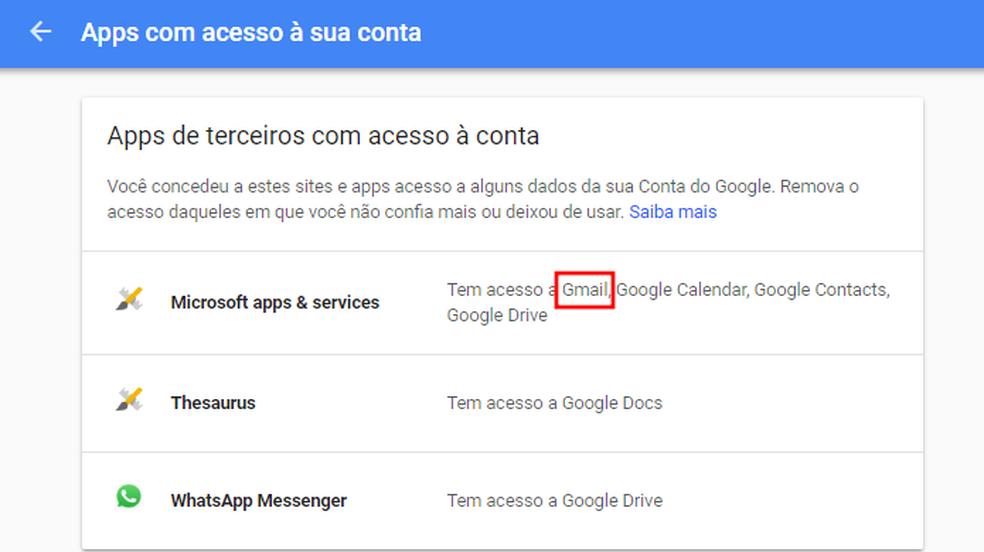 Localize apps com acesso ao Gmail (Foto: Reprodução/Paulo Alves)