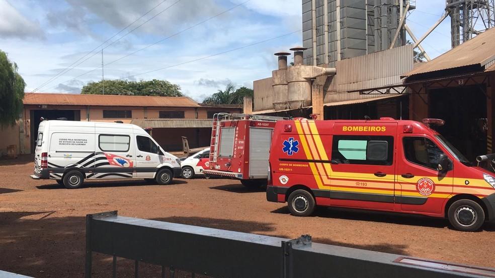 Resgate mobilizou o Corpo de Bombeiros, Samu e a Defesa Civil, que retiraram o funcionário do local  — Foto: Defesa Civil/Divulgação