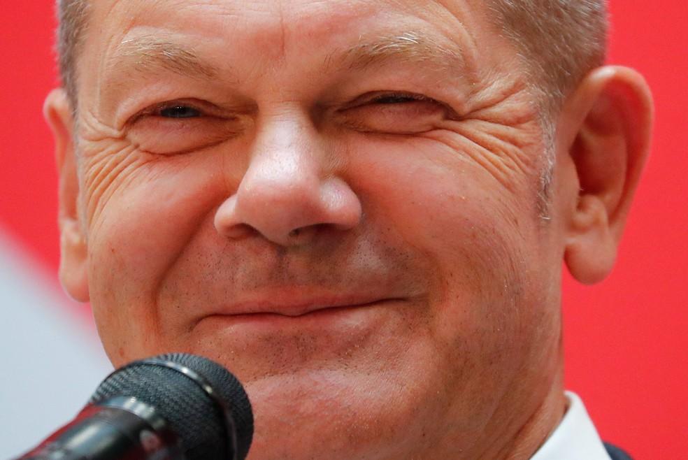 Olaf Scholz, líder do Partido Social-Democrata da Alemanha, em imagem de 27 de setembro de 2021 — Foto: Hannibal Hanschke/Reuters