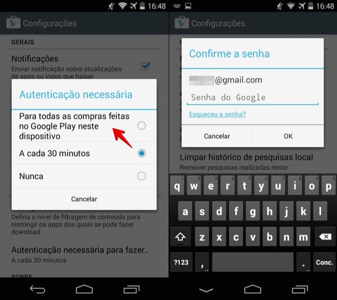 Alterando configuração de compra na Google Play (Foto: Reprodução/Helito Bijora)