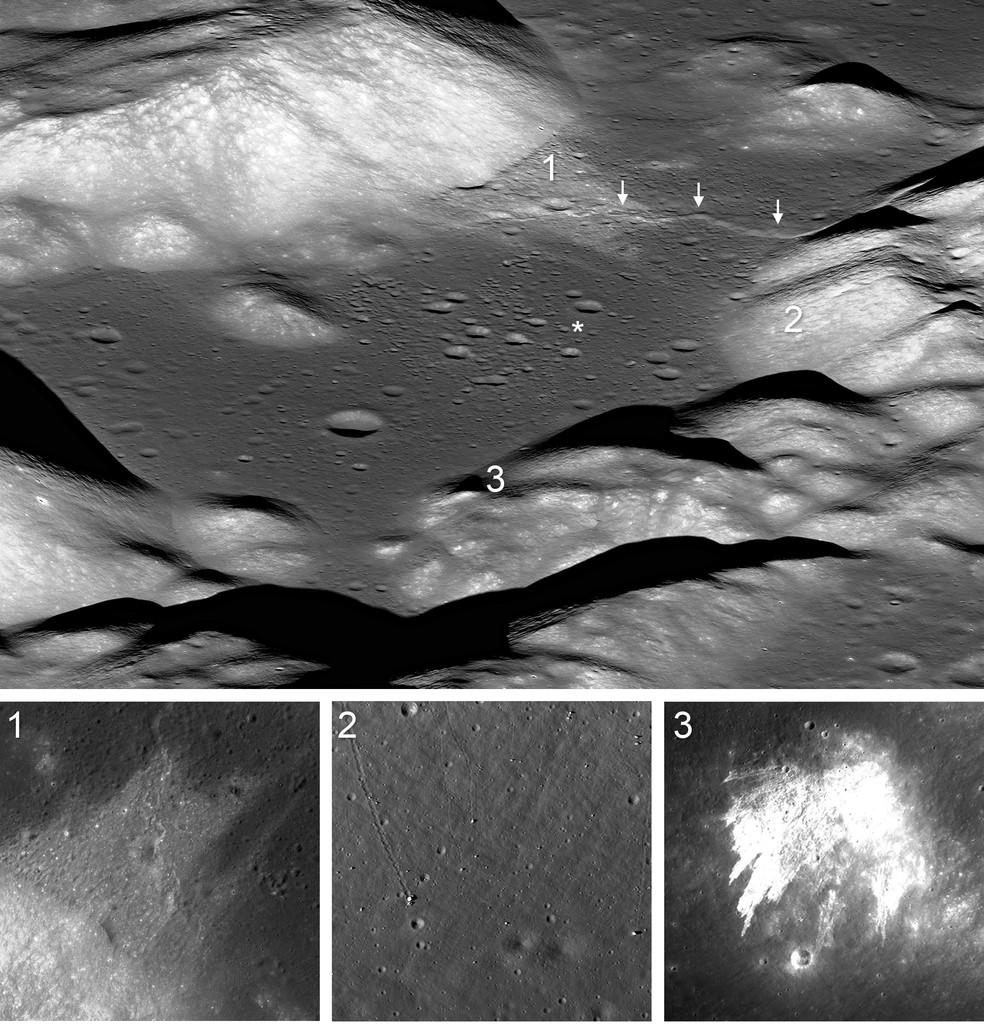 O vale de Taurus-Littrow é a localização do local de pouso da Apollo 17 (asterisco). Atravessando o vale, logo acima do local de pouso, está a escarpa de falha de Lee-Lincoln. O movimento na falha foi a fonte provável de numerosos terremotos que desencadearam eventos no vale. 1) Grandes deslizamentos de terra nas encostas do Maciço Sul envolviam rochas relativamente brilhantes e poeira (regolito) sobre e sobre a escarpa de Lee-Lincoln. 2) Pedregulhos rolaram pelas encostas do Maciço Norte deixando rastros ou vales estreitos no regolito nas encostas do Maciço Norte. 3) Deslizamentos de terra nas encostas sudeste das Colinas Esculpidas. — Foto: NASA/GSFC/Arizona State University/Smithsonian