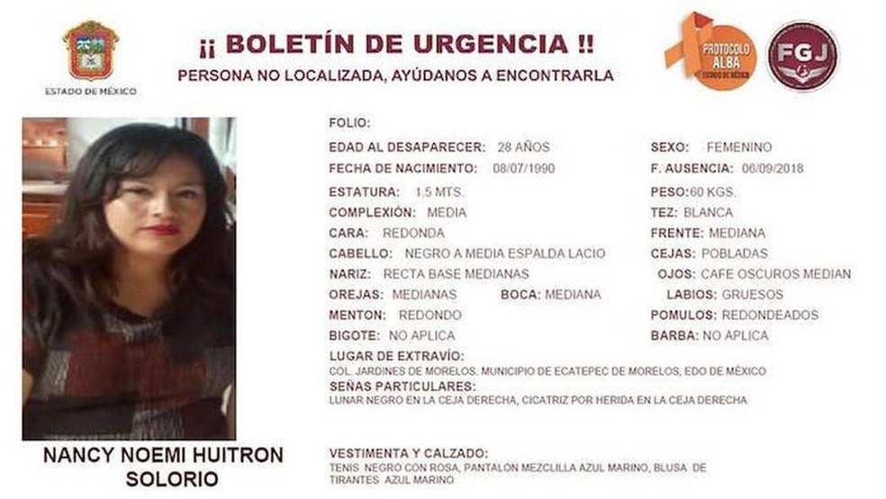 A polícia chegou ao casal depois de investigar o desaparecimento de Nancy Huitron, em 6 de setembro — Foto: Promotoria Estado do México via BBC
