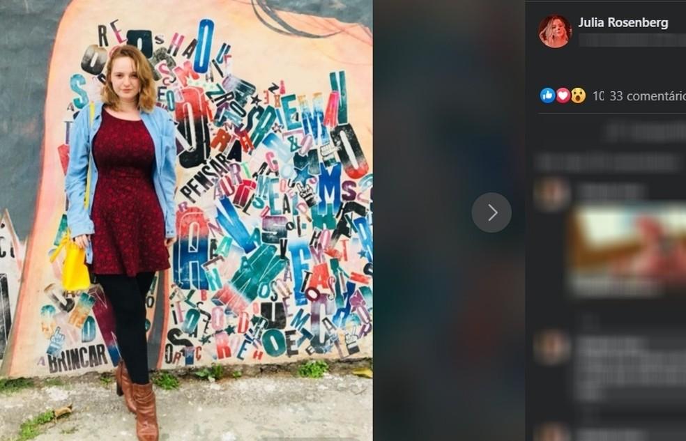 Corpo da jovem Julia Rosemberg foi encontrado em São Sebastião — Foto: Reprodução/ Facebook