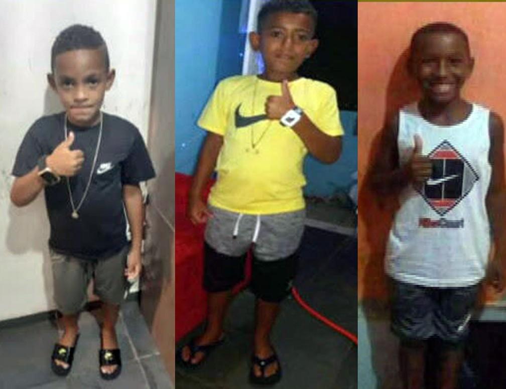 Lucas Matheus, 8 anos; Alexandre da Silva, 10 anos; e Fernando Henrique, 11 anos, desapareceram no domingo (27) — Foto: Reprodução/TV Globo