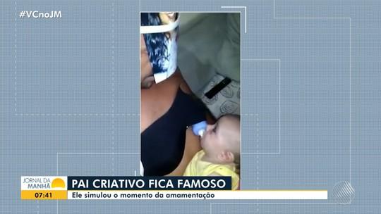 VÍDEO: Baiano viraliza na web após colocar foto da esposa no rosto e prender mamadeira em sutiã para 'amamentar' filho