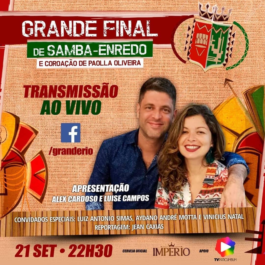 Alex Cardoso e Luise Campos comanda transmissão da final da Grande Rio neste sábado, dia 21