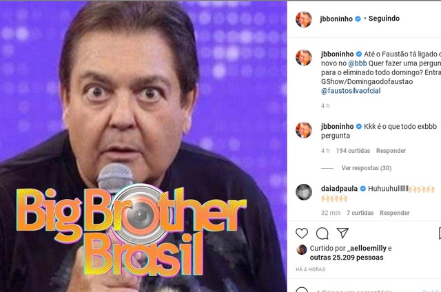 Boninho anuncia presença de participantes do 'BBB' no 'Domingão do Faustão' (Foto: Reprodução)