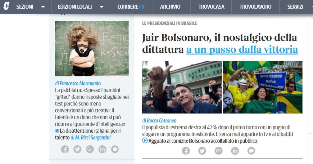 """Site do """"Corriere della Sera"""" destaca liderança de Bolsonaro no primeiro turno — Foto: Reprodução/ Corriere della Sera"""