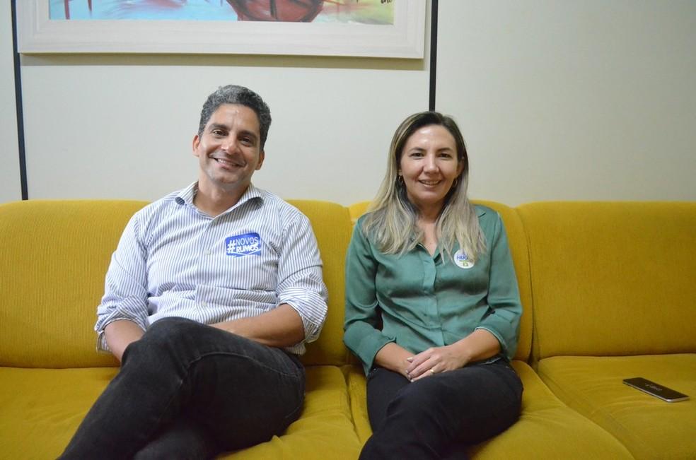 -  Hugo e Aldenize, da chapa Novos Rumos, são candidatos de oposição à atual reitora da Ufopa  Foto: Fábio Cadete/G1
