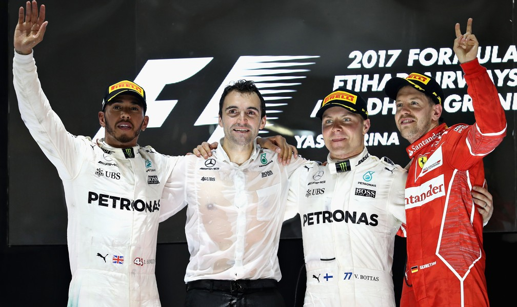 Bottas P1, Hamilton P2 e Vettel P3 (Foto: Getty Images)