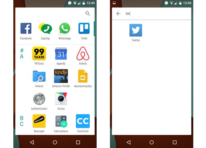 Apps são organizados em lista vertical no novo Android (Foto: Reprodução/Paulo Alves)